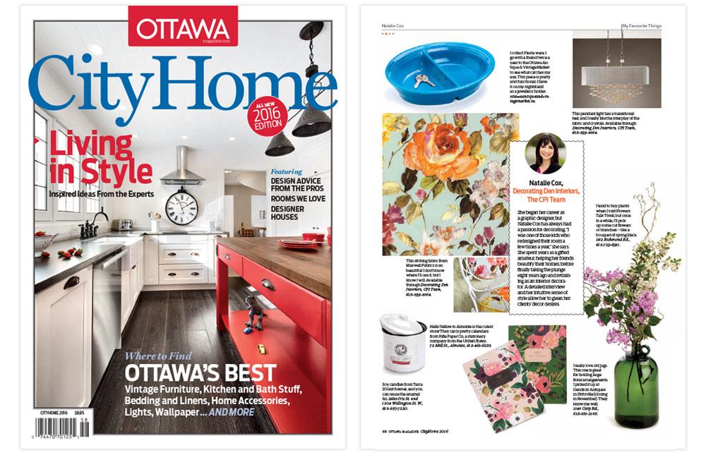 Natalie Cox Decorator featured in Ottawa CityHome Magazine