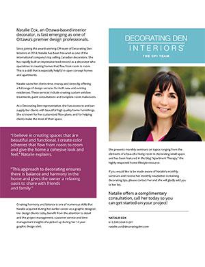 Natalie Cox - Interior Decorator with CPI Interiors, Ottawa, ON